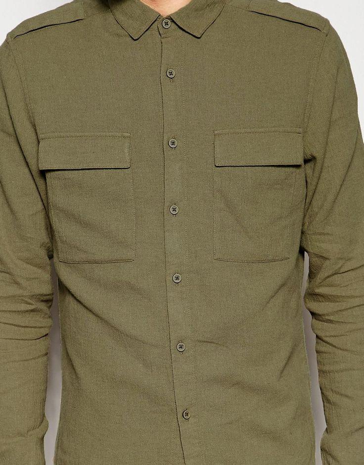 Immagine 3 di ASOS - Camicia militare in misto lino color kaki a maniche lunghe vestibilità classica
