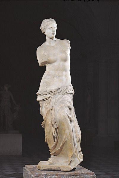 Aphrodite, the 'Venus de Milo', Hellenistic period, c.130-100 BC (marble) Greek, (2nd century BC). Louvre, Paris, France