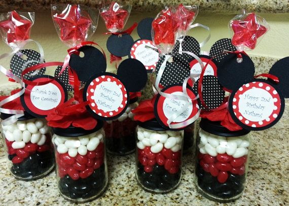 Mickey Mouse Baby Food Jar Party Favors via Etsy