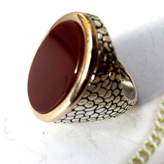 Carnelian 925 sterling silver artisan Turkish men's ring ...