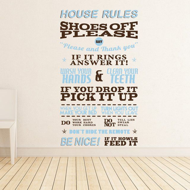 Rules for the home Wall Sticker :-)Vinyls Wall Stickers, Fancy House, Decals, Digital Art, House Rules, Graphics, Products, People, The Rules