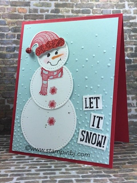 Super cute snowman made even cuter by the stitched framelits!  You have to get these!  #stampinbj.com