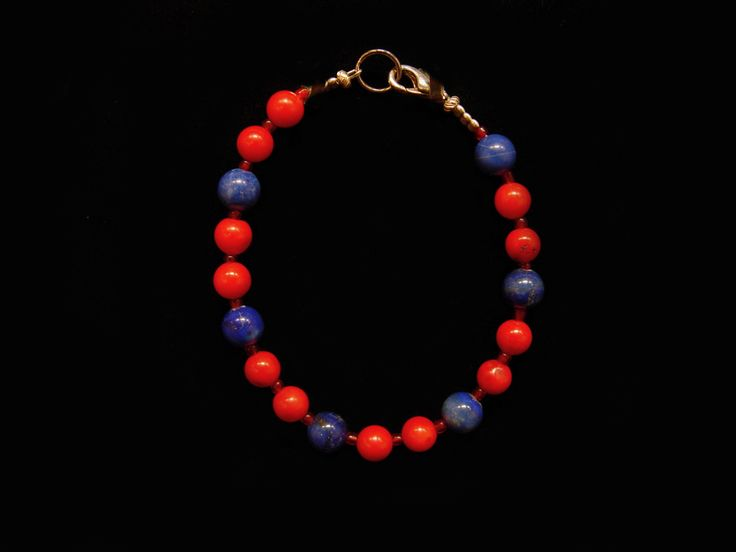 """Lapis and Dyed Coral Bracelet. 8""""."""