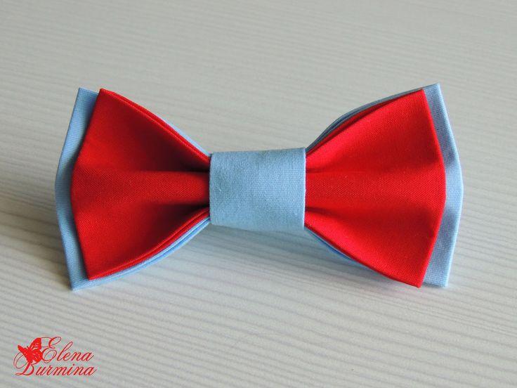 Купить Бабочка галстук красно-голубая, хлопок - ярко-красный, однотонный, голубой, красный, алый