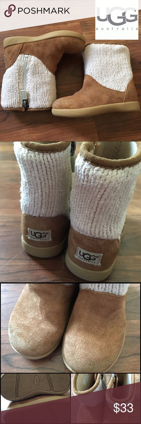 "Toddlers Size 6 Ugg Australia Dove Boots - VGUC I bought these for my niece and she only wore them a handful of times (her mom was afraid she would ""ruin"" them) and they have been in storage the past year. They are an infant/toddler size 6 and zip up the side so you can slip them on without fuss. They are in VGUC and have traction on the bottom for wobbly walkers. Style is the Dove and there is some minor wear pilling on the knit but a quick shaver can take care of that. ☺️ 🚫trades…"