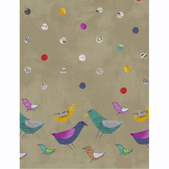 Collage Fabric by Windham Bird Border Print от AllegroFabrics, $10.00