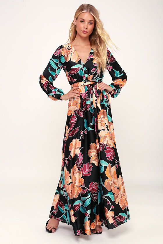 f60b21fd25e8 Look and feel like a queen in the Lanah Black Floral Print Satin Maxi Dress!  Luxe satiny woven fabric, with a turquoise, beige, orange, and plum purple  ...