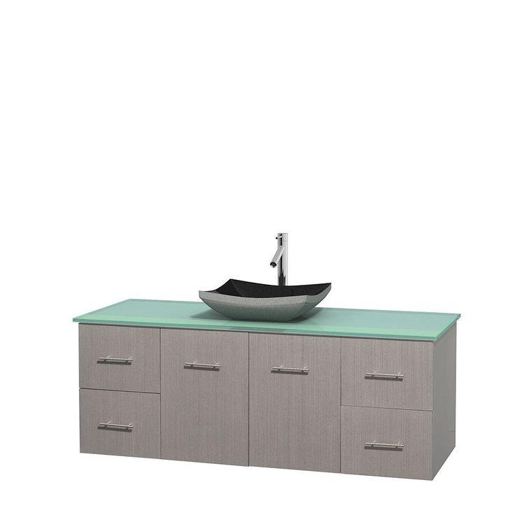 Wyndham Collection Centra 60-inch Single Bathroom Vanity in Grey Oak, No Mirror (Black Granite, Ivory Marble or White Carrera) (60 Grey Oak,GN Glass Top,Avalon Car Sink,No Mir), Size Single Vanities