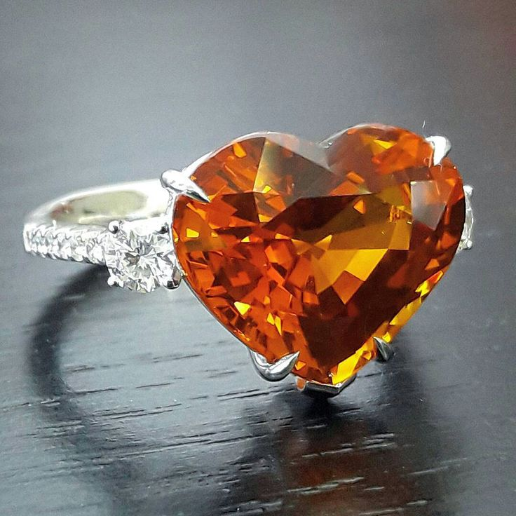 At @wut_primagems. Vivid orange sapphire Ring (10.23 ct. Sri Lanka/GRS) #yellowsapphire#diamond #ring