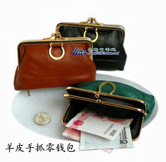 Sheepskin clutch bag wallet double layer hasp coin case coin purse women's handbag unionpay card holder genuine leather small 371,93 руб.