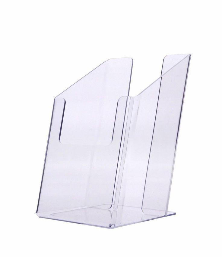 """Lot of 2 Tri Fold Slant Back Counter Top Brochure Holder up to 4"""" wide 2"""" Depth #marketingholders"""