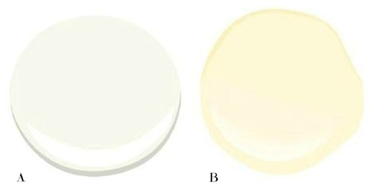 A – Cloud White – Combine this with black and tan accents and you'll have a deadly combo  B – Navajo White – Light cream with warm yellow undertone