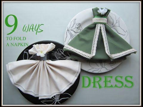 Napkin Folding: 9 Ways to Fold a Napkin Dress - YouTube
