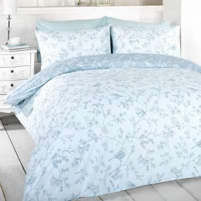 signature home french bird toile duvet cover set with matching pillowcases blue double