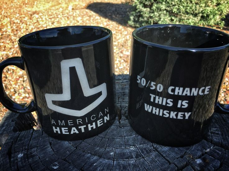 """So I picked six 20oz black coffee mugs. These are limited in the 20oz size. I have some new versions as well, including: """"I am my deeds after coffee"""" """"Shut your pie hole and Heathen up"""" """"50/50 chance this is whisky"""" (or your liqueur of choice)  #americanviking #americanheathen #modernviking #modernheathen #heathen #asatru #heathencoffee #coffee #coffeemug #hollowhammer #thorshammer #mjollnir #mjolnir"""
