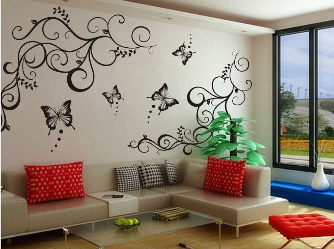 Butterfly Vine Decoration Flower Removable Vinly Wall Poet Art Sticker DIY  3D Wall Decal Quotes Decorative