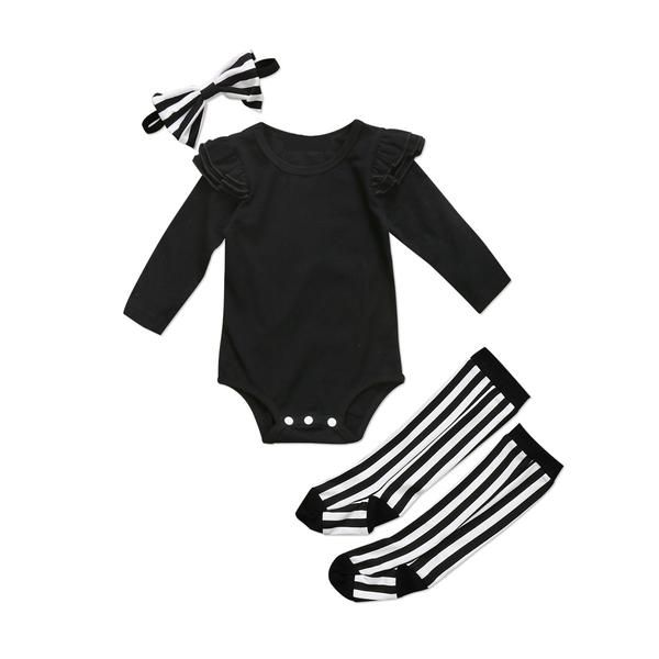 UK Toddler Baby Girl Clothes Top Romper+Striped Socks+Headband 3pcs Outfits Set
