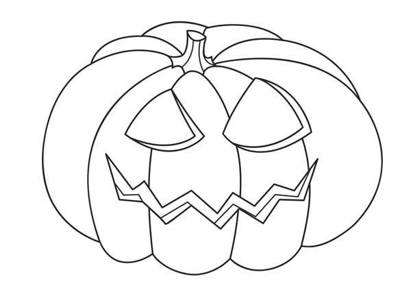 Jack O' Lantern Head On Halloween Day Coloring Page ...