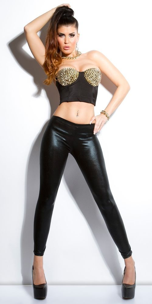 SEXY NEW WOMENS BLACK WET LOOK LEGGINGS WITH LACE UP BACK SIZE 8 10 S M