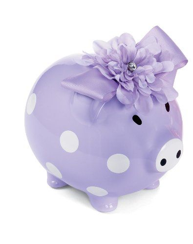 "$27.49 Baby Mud Pie Baby Buds Ceramic Flower Bank, Purple - This cute piggy bank by Mud Pie is a nice accent to that special girl's room and makes a great gift. Purple or Pink with white polka dot ceramic banks feature a silk flower and grosgrain bow. Measures 6""x8"" and comes with Gift Box. (each color sold separately). http://www.amazon.com/dp/B001TQNQFK/?tag=pin2baby-20"