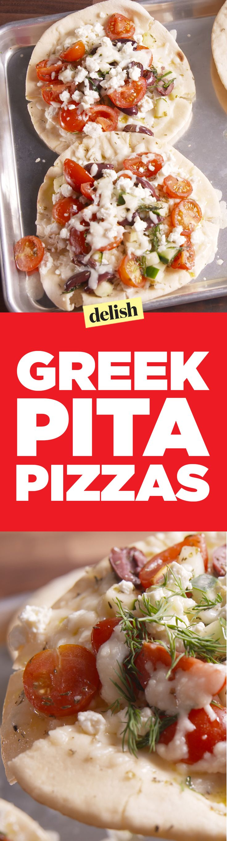 Greek pita pizzas are a healthy twist on your favorite carb. Get the recipe on Delish.com.
