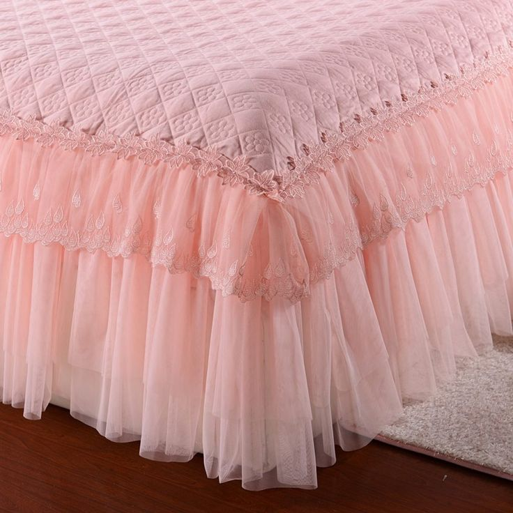 100% Cotton Princess Lace Bedding set Bed skirt Pillowcases Pink Bege King/Queen/Full size 3Pcs Bedsheet For Girl Gifts 1