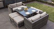 "Reef Wicker Mustique Sofa Cube Dining Set - Grey or Brown ""Moda furnishings"""