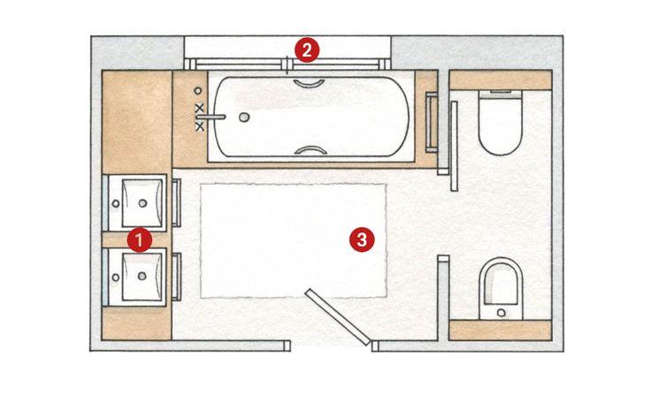 Mejores 10 im genes de planos y distribuci n en pinterest casas peque as casitas y peque a - Distribucion bano alargado ...