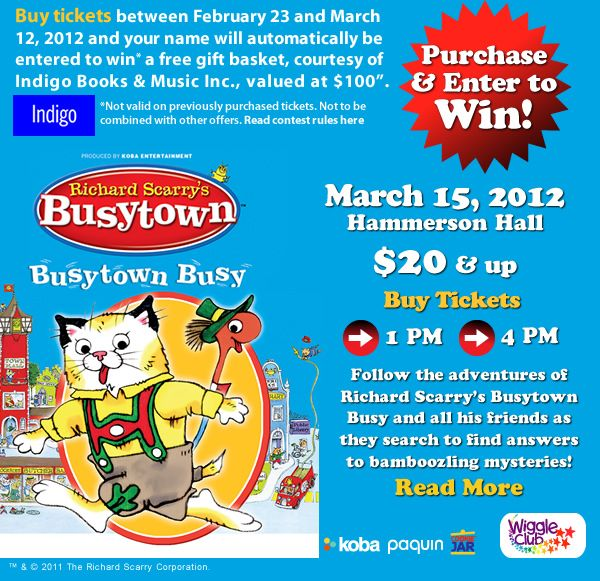 Richard Scarry's Busytown is in for one day only (two shows) at the Living Arts Centre in #Mississauga