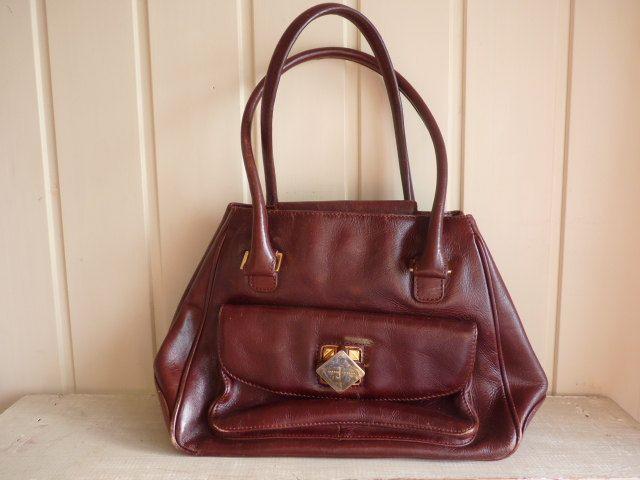 Leather designer handbag / purse Jasper Conran Vintage English Brown leather Hide luggage Designers at Debenhams Handbag by VintageFrenchStore on Etsy