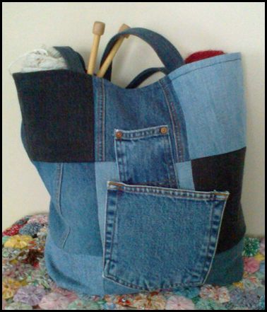 upcycled denim tote bag - made me think of Krista Wilson White