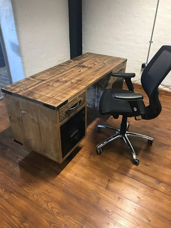vintage industrial reclaimed office desk with filing drawers diy rh pinterest com reclaimed office furniture manchester reclaimed office furniture stockport