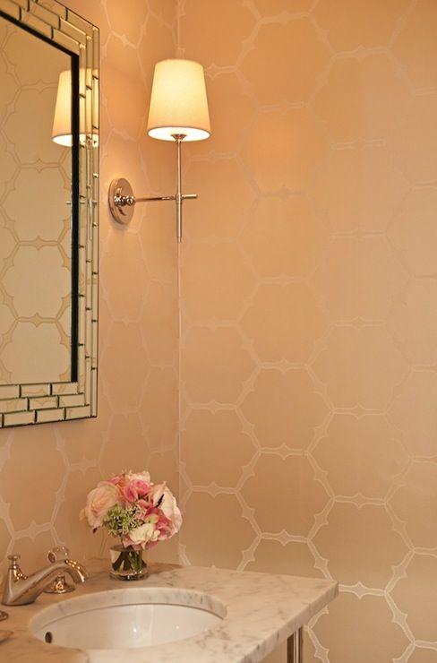 Pretty powder room = subtle wallpaper + marble pedestal + wall sconces