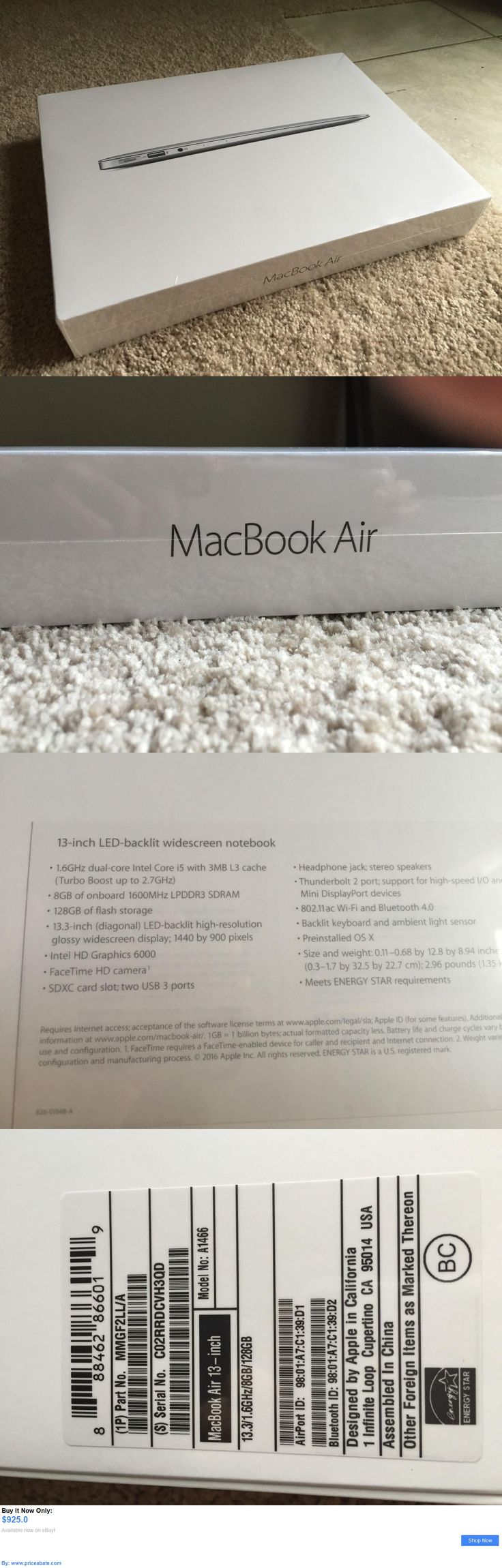 general for sale: Apple Macbook Air 13-Inch Mmgf2ll/A 8Gb, 128Gb, 1.6Ghz I5 (A1466) BUY IT NOW ONLY: $925.0 #priceabategeneralforsale OR #priceabate