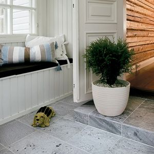 Tulikivi soapstone flooring. I love pearly grey.