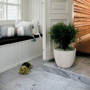 Tulikivi soapstone flooring. I love pearly grey.