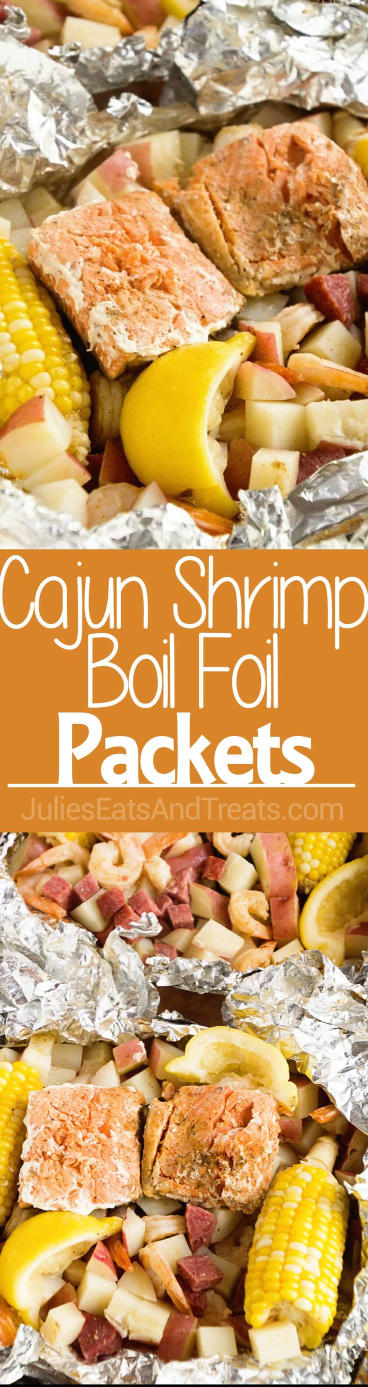 Cajun Shrimp Boil Foil Packets ~ Foil Packets Stuffed with Potatoes, Salmon, Shrimp, Summer Sausage, Corn and Seasoned with Cajun Seasoning! The Perfect Grilling Recipe! ~ http://www.julieseatsandtreats.com