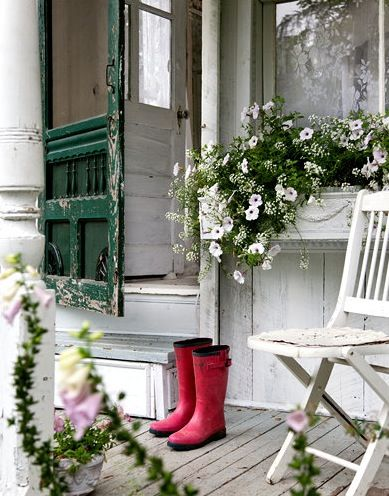 I am intrigued by the red boots in this composition: Green Doors, Red Boots, Shabby Chic, Cottages, Old Screens Doors, Screen Doors, Flower Boxes, Front Porches, Window Boxes