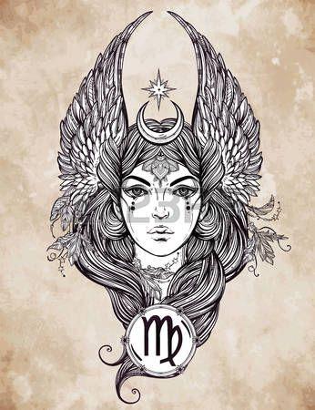 sterrenbeeld maagd: Hand getekend romantische prachtige kunstwerk van sterrenbeeld Maagd teken in vrouwelijke vorm. Dierenriem, horoscoop, alchemie, spiritualiteit, occultisme, tattoo art. Geïsoleerde vector illustratie. Stock Illustratie