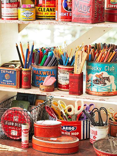 Use Vintage Tins to Corral Just About Anything 7 Craft Room Makeover Ideas @Elizabeth Lockhart Lockhart Cassinos Living Magazine.com