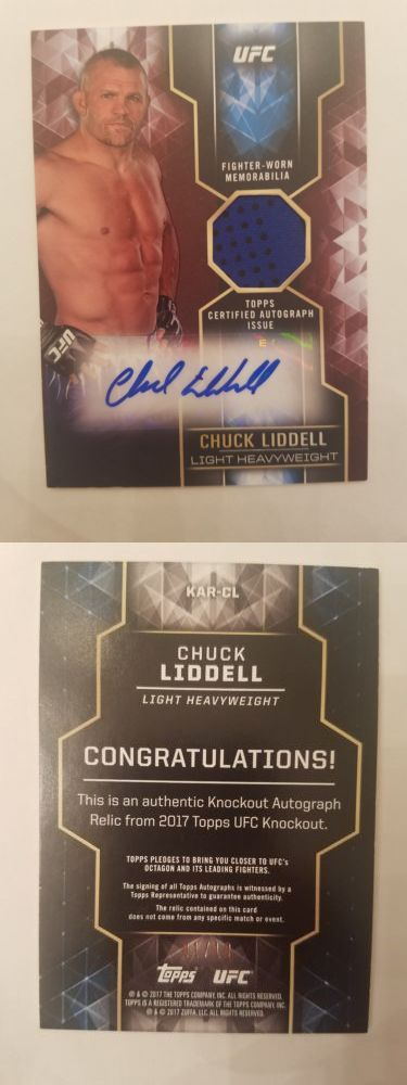 Mixed Martial Arts MMA Cards 170134: 2017 Topps Ufc Knockout Chuck Liddell Red Auto Relic 1 10 2 Color Relic -> BUY IT NOW ONLY: $89.99 on eBay!