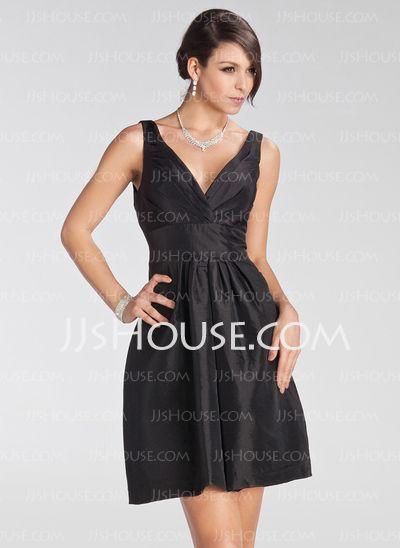 Bridesmaid Dresses - $82.99 - Empire V-neck Short/Mini Taffeta Bridesmaid Dress With Ruffle (007005231) http://jjshouse.com/Empire-V-Neck-Short-Mini-Taffeta-Bridesmaid-Dress-With-Ruffle-007005231-g5231