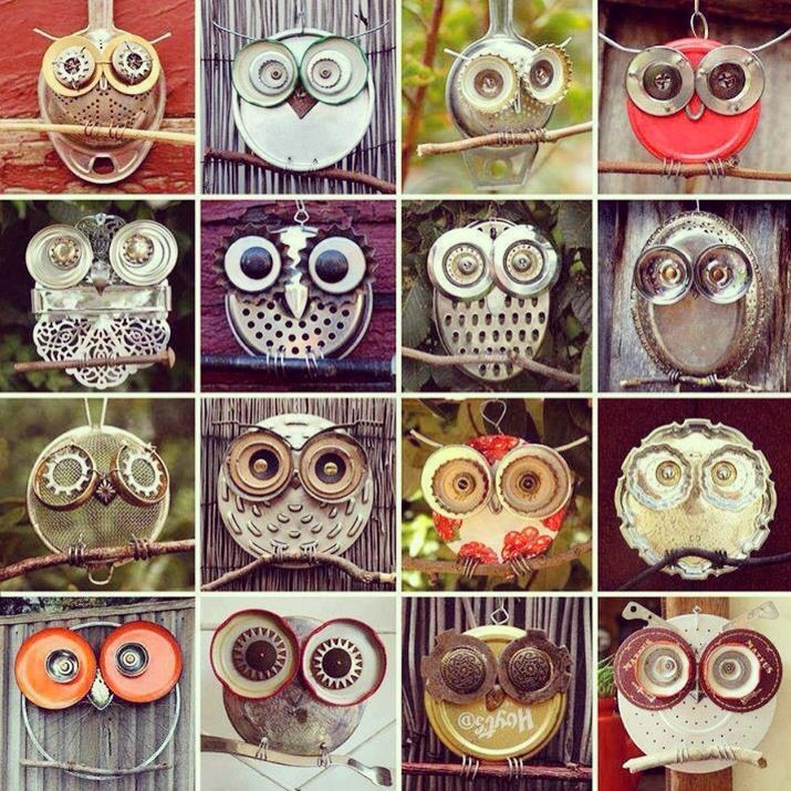 Handmade owls / up-cycling.  Love this on so many levels!