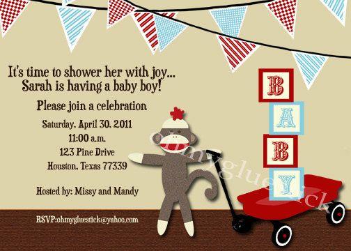 sock monkey baby shower invitation sockmonkey
