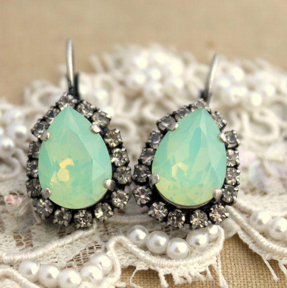 Mint green teardrop hook earring  oxidized silver by iloniti, $48.00