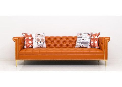 High Quality Sinatra Sofa In Hermes Orange Faux Leather