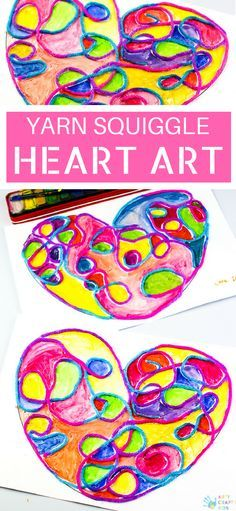 Arty Crafty Kids   Art Ideas for Kids   Yarn Squiggle Heart Art   A fun process art idea for kids, using yarn and watercolour paints to create a cute heart. A simple and fun art project for Valentine's Day! #Valentinesday #artforkids #easyartforkids