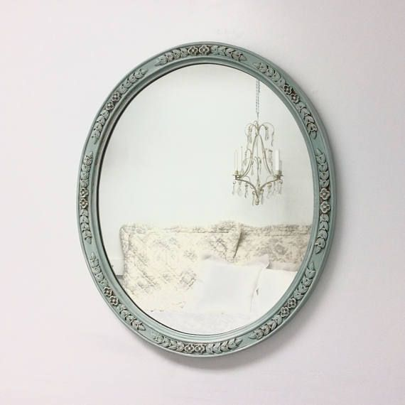 "DECORATIVE VINTAGE MIRRORS For Sale French Teal Green Mirror 29""x24"" Shabby Chic Nursery French Country Wall Mirror"
