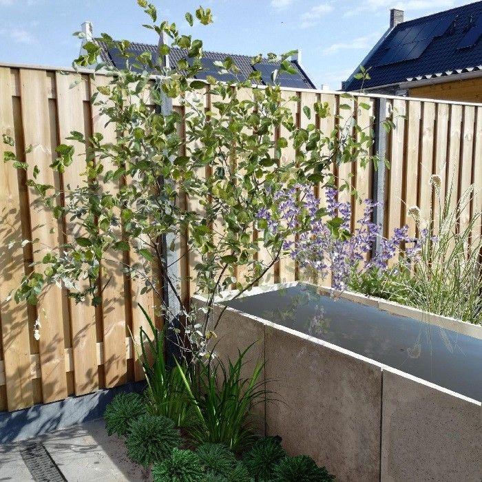 RUIMTE: Ook in een wat kleinere tuin kan je door slim in te richten een gevoel van ruimte creëren. Deze tuin (± 60m2) geeft ruimte aan een eetgedeelte, een zongedeelte, ruimte voor de vuilnisbakken (uit het zicht), een waterelement, veel groen én veel bewegingsvrijheid!