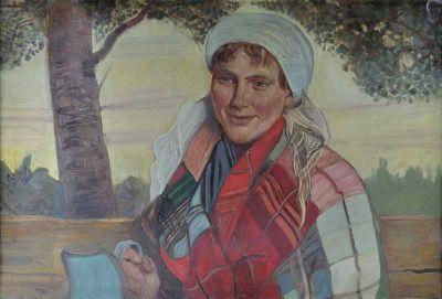 Wincenty Wodzinowski (Polish, 1866-1940) Dziewczyna z niebieskim dzbanem/Girl with blue pitcher
